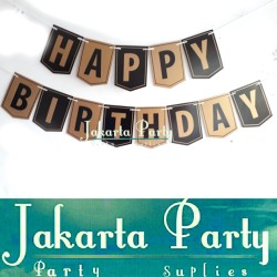 Banner HBD Hitam Gold / Bunting Flag Motif Hitam Gold / Party Flag