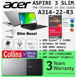 """Acer Aspire 3 Slim A314-22 AMD RYZEN 3-3250U 4GB 256GB 14"""" FHD W10 OHS"""