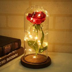 Bunga Mawar Lampu LED Dekorasi Beauty and The Beast Rose - AC01 - Merah