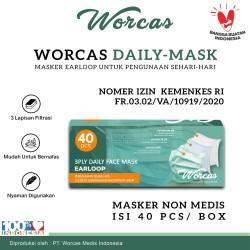 WORCAS Masker 3 Ply Earloop Isi 40 Pcs - Premium Disposable Face Mask