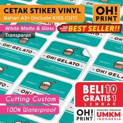 Cetak Stiker Label Vinyl / Transparan A3+ CUT / Cetak Label Kemasan