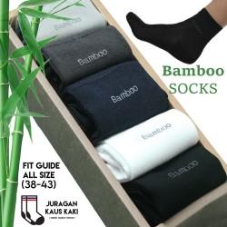 Kaos Kaki Panjang Pria Serat Bambu Arang Katun Bamboo Original Asli - Hitam