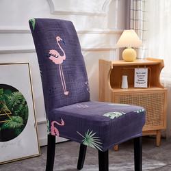 Cover Kursi Bangku Elastis Pattern Sarung Kursi Cover Sarung kursi - Flamingo