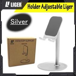 LIGER Adjustable Desktop Phone Stand Tablet Holder with 360 - Abu-abu
