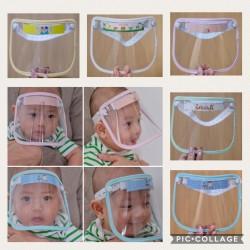 Pelindung wajah utk bayi / face shield baby / baby shield - Merah Muda