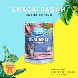 MAKANAN BASAH Kucing SNAPPY TOM POUCH/SACHET BEEF & VEGETABLE 85 GRAM
