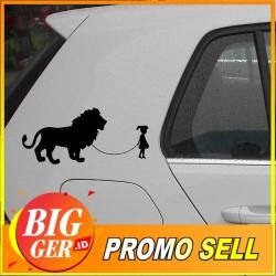 BIGGER Stiker /sticker Mobil Girl Walking Lion Glue Body Mobil
