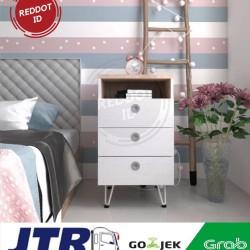 Meja Nakas Minimalis Samping HIRO Bedside Table 3 Laci 44x40x74cm - Brown
