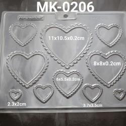 MK-0206 Cetakan mika coklat frame hati renda
