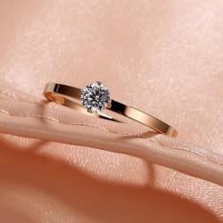 Cincin Titanium Steel Wanita Gaya Korea Solitaire Diamond Tunggal - Rose Gold, 7