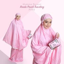 Mukena Dewasa Parasit Renda Pouch Traveling (JUMBO) - Pink