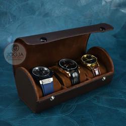 Traveller Watch Case Tube / Tempat Jam Tangan Sport Isi 3 Hitam Full - Coklat full
