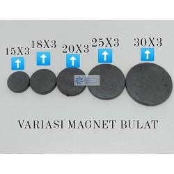 Magnet Hitam 30mm Ferrite Bulat Koin Tempelan Kulkas 30x3 mm (2 sisi)