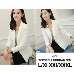 side pocket blazer putih