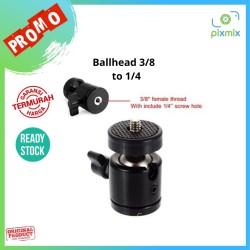 "Mini Ball Head Ballhead 3/8"" to 1/4"" Ready 100%"
