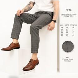7938 Celana Panjang Pria B Trousers Slimfit Tartan Grey