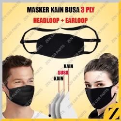 Masker Kain Busa Sponge Cloth 3 Layer Filter Mudah Di Cuci Ikat Hitam