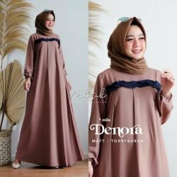 Baju gamis wanita terbaru / Denora Dress Rempel / Gamis Syari Kekinian