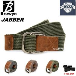 BREWYN Double Metal Buckle Canvas Belt/Ikat pinggang pria - JABBER - Hijau Tua