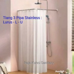 Tiang Shower Curtain U,L,Lurus/Tirai Kamar Mandi Stainless (PROMO)