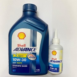 PAKET OLI MATIC SHELL ADVANCE AX7 SCOOTER 0.8L 10W30 + SHELL OLI GEAR