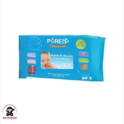 PURE BABY Hand Mouth Baby Wipes Blue Aloe Vera 60 s