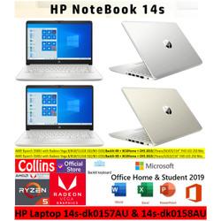 "Laptop HP 14S DK0157AU DK0158AU AMD R5-3500U 8GB 512GB SSD 14"" FHD W10"