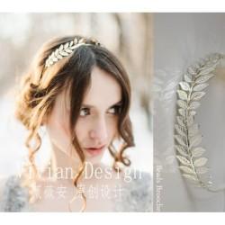 Bando Headpiece Wedding Pernikahan Gambar Daun Gold Elegan