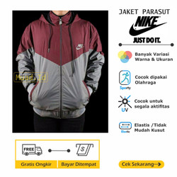 Jaket Nike Kombinasi Parasut Sporty [Olahraga] Sepeda Jogging Lari