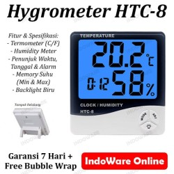 HTC-8 Termometer Hygrometer Ruangan Digital Jam Thermometer In/Out