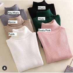 MYREDO - Sweater Rajut Wanita Turtleneck Ribbed Turtle Aster 7108