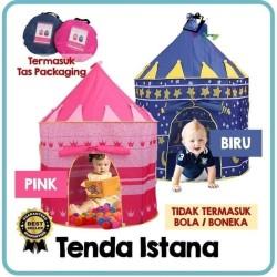 TENDA KASTIL ANAK BENTUK ISTANA CASTLE TENT Mainan Camping Mandi Bola - Merah Muda