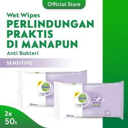 Dettol Wipes Sensitive - isi 50 lembar x 2 pcs - Tisu Basah Anti Kuman