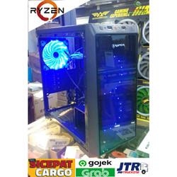 PAKET Casing Gaming Raptor 1501 Black strike DAN fan led 3 pcs - Biru