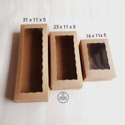 Dus kue kotak kue box brownies cake box kraft tebal Laminating mika - 16x11x05cm