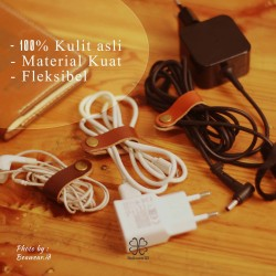 klip kabel kulit asli | leather cable clips | leather cable organizer