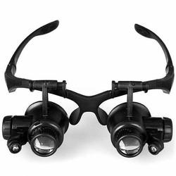 Kacamata Pembesar 25x Magnifier dengan 2 LED untuk Reparasi