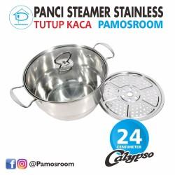 Calypso Panci Steamer Stainless 24cm + Tutup Kaca 24 Cm Free Kukusan