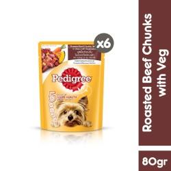 [isi 6 pack] Pedigree Pouch 80gr Makanan Anjing Basah rasa BeefChunks