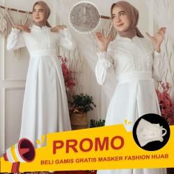 Gamis Zahira Brokat Glitter Premium + Renda | Gamis Busui Friendly
