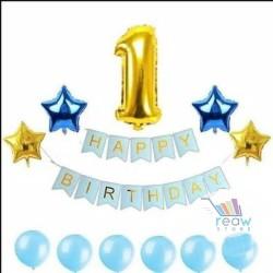 Paket Dekorasi Hiasan Balon Ulang Tahun / Happy Birthday Biru 03