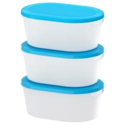 Kode B - IKEA JAMKA Tempat makanan - Putih Transparan Biru 20x14x