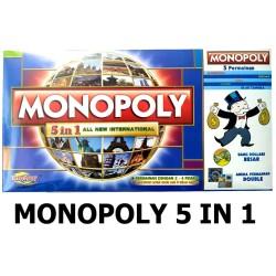 Monopoly 5 In 1 Monopoli, Halma, Catur, Ular tangga, Ludo Permainan