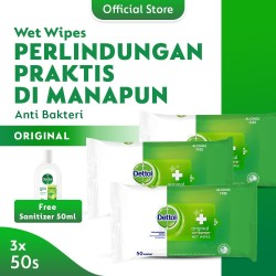 Dettol Wipes 50s (3pcs) FREE Sanitizer 50ml