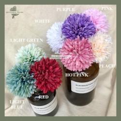 Artificial Flower PomPom Mum Dandelion Bunga Palsu Buatan Plastik Hias