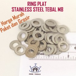 x50Pcs- Ring Plat M8 Stainless Steel SUS 304 Tebal ~1.5mm (RPSS8)