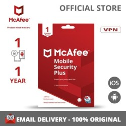 McAfee Mobile Security Plus VPN 1 Device, 1 Year Software Antivirus