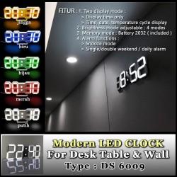 Jam Meja LED Digital / Modern LED Clock Style Tipe DS 6009 Minimalist - Orange