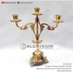 Tempat Lilin Cabang 3 Kuningan - Candle Holder Brass