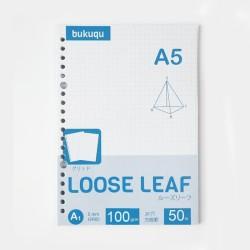 HVS Loose Leaf (GRID) Kertas Binder/ Isi Notes - (A5) 50 lbr